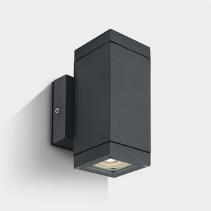 Cylinder Square Outdoor Up & Down Wall Light - Anthracite