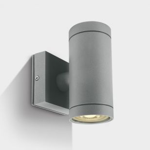 Cylinder Outdoor Up & Down Wall Light - Grey