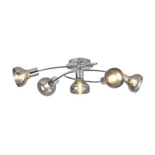 Edit Hazel 5 Arm Semi-Flush Ceiling Light - Chrome