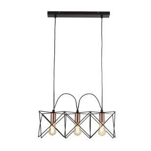 Edit Cross 3 Light Bar Ceiling Pendant - Black & Copper