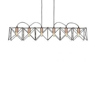 Edit Cross 6 Light Bar Ceiling Pendant - Black & Copper