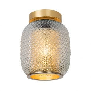 Lucide Agathe Flush Glass Ceiling Light - Matt Gold
