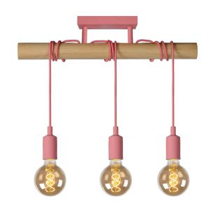 Lucide Paulien 3 Light Bar Ceiling Pendant - Pink