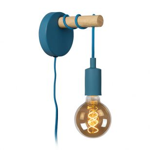 Lucide Paulien Wall Light with Plug- Blue