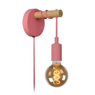Lucide Paulien Wall Light with Plug - Pink