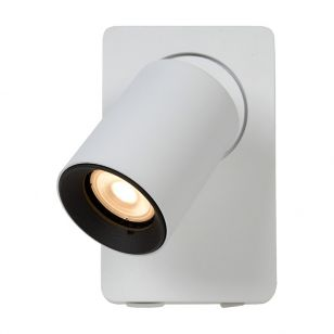 Lucide Nigel LED Wall Light with USB Charging Port - White