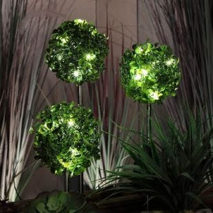 365 Topiary Solar LED Stake Lights - Set of 3