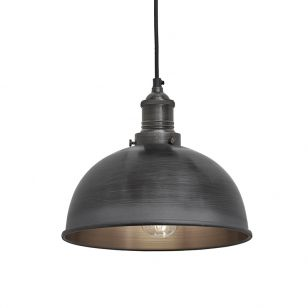 Industville Brooklyn Dome Small Ceiling Pendant Light - Pewter