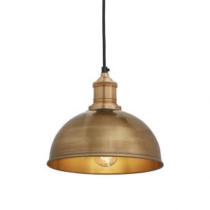 Industville Brooklyn Dome Small Ceiling Pendant Light - Brass