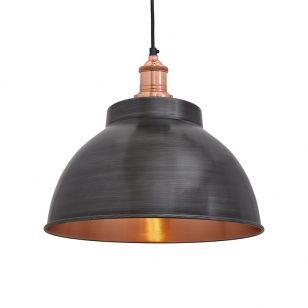 Industville Brooklyn Dome Medium Ceiling Pendant Light - Pewter & Copper