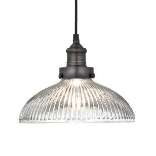 Industville Brooklyn Glass Dome Ceiling Pendant Light - Pewter