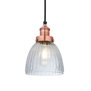 Industville Brooklyn Glass Cone Ceiling Pendant Light - Copper