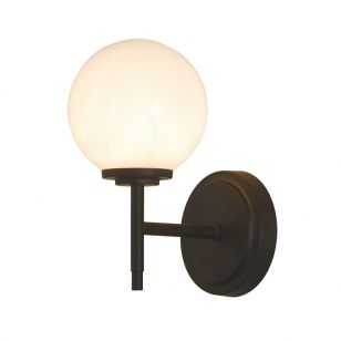 Edit Porto Glass Wall Light - Matt Black