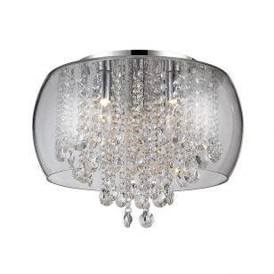 Edit Nore Crystal Flush Ceiling Light - Polished Chrome