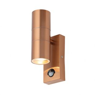Forum Leto Up & Down Outdoor Wall Light with PIR Sensor - Copper