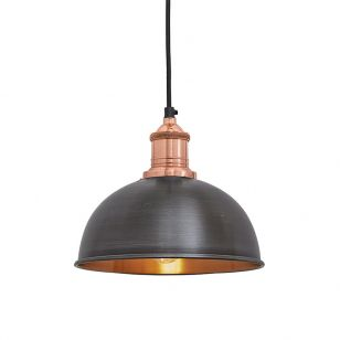 Industville Brooklyn Dome Small Ceiling Pendant Light - Pewter & Copper