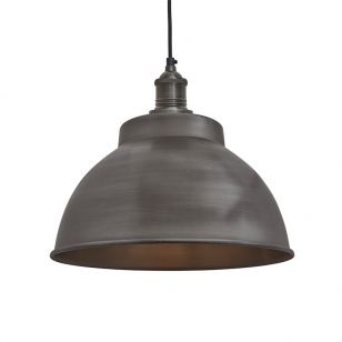Industville Brooklyn Medium Dome Ceiling Pendant Light - Pewter