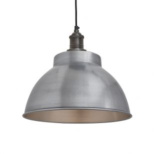 Industville Brooklyn Medium Dome Ceiling Pendant Light - Light Pewter