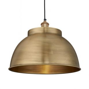 Industville Brooklyn Large Dome Ceiling Pendant Light - Brass