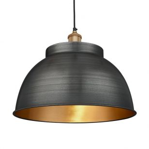 Industville Brooklyn Large Dome Ceiling Pendant Light - Pewter & Brass