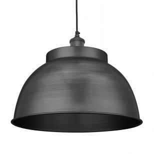Industville Brooklyn Large Dome Ceiling Pendant Light - Pewter