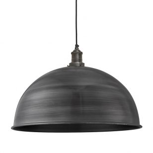 Industville Brooklyn Grande Dome Ceiling Pendant Light - Pewter