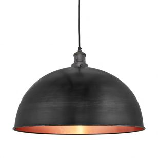 Industville Brooklyn Grande Dome Ceiling Pendant Light - Pewter & Copper