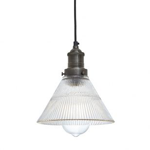 Industville Brooklyn Small Glass Ceiling Pendant Light - Pewter