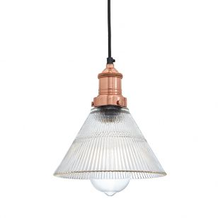 Industville Brooklyn Small Glass Pendant Light - Copper