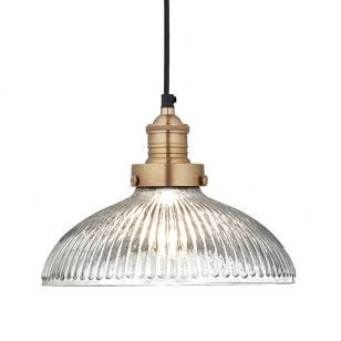 Industville Brooklyn Large Glass Dome Ceiling Pendant Light - Brass