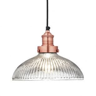 Industville Brooklyn Large Glass Dome Ceiling Pendant Light - Copper