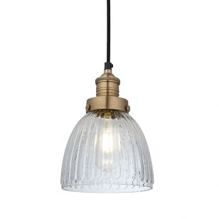 Industville Brooklyn Small Glass Dome Ceiling Pendant Light - Brass