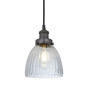 Industville Brooklyn Small Glass Dome Ceiling Pendant Light - Pewter