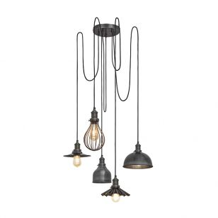 Industville Brooklyn 5 Light Cluster Ceiling Pendant - Pewter