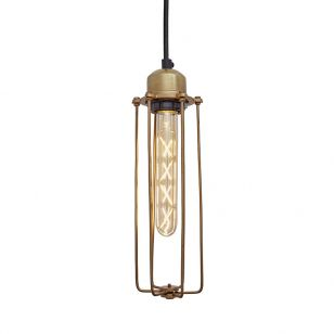 Industville Orlando Cylinder Ceiling Pendant Light - Brass