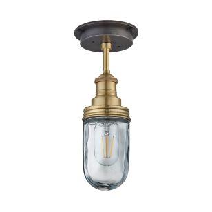 Industville Brooklyn Glass Outdoor Semi-Flush Ceiling Light - Brass