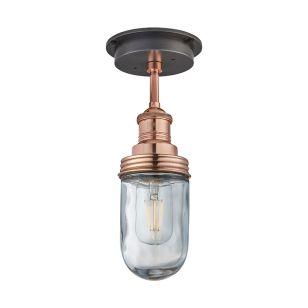 Industville Brooklyn Glass Outdoor Semi-Flush Ceiling Light - Copper