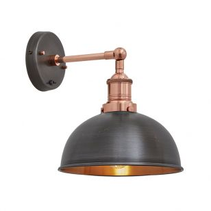 Industville Brooklyn Dome Wall Light - Pewter & Copper