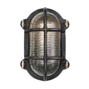 Industville Bulkhead Outdoor Oval Flush Wall Light - Black