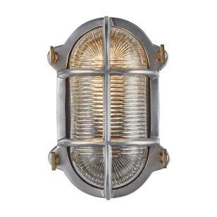 Industville Bulkhead Outdoor Oval Flush Wall Light - Gunmetal