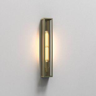 Astro Harvard 500 Half Lantern Outdoor Wall Light - Natural Brass