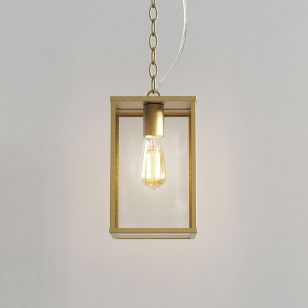 Astro Homefield 240 Pendant Porch Lantern - Natural Brass
