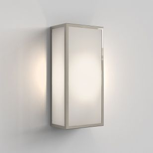 Astro Messina 160 Frosted II Half Lantern Outdoor Wall Light - Polished Nickel