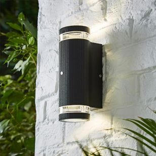 Forum Helix Outdoor Up & Down Wall Light with Dusk to Dawn Sensor - Black
