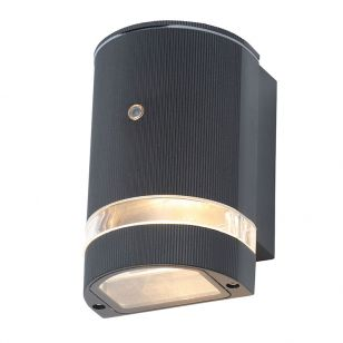 Forum Helix Outdoor Wall Light with Dusk to Dawn Sensor - Black
