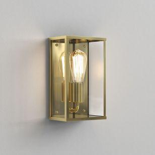 Astro Coastal Homefield Half Lantern Outdoor Wall Light - Natural Brass