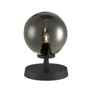 Dar Esben Touch Smoked Glass Table Lamp - Matt Black
