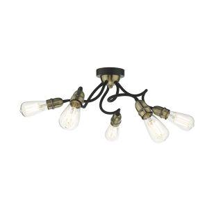 Dar Eydie 5 Arm Semi-Flush Ceiling Light - Antique Brass