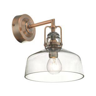 Dar Miles Glass Wall Light - Antique Copper