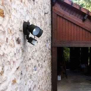 Lutec Shrimp II 15W Outdoor LED Twin Floodlight with PIR Sensor - Black
